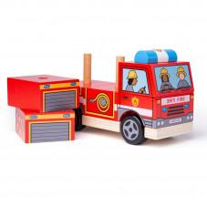 camion de pompier bois