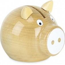 Tirelire cochon bois nature fabriqué en France vilac