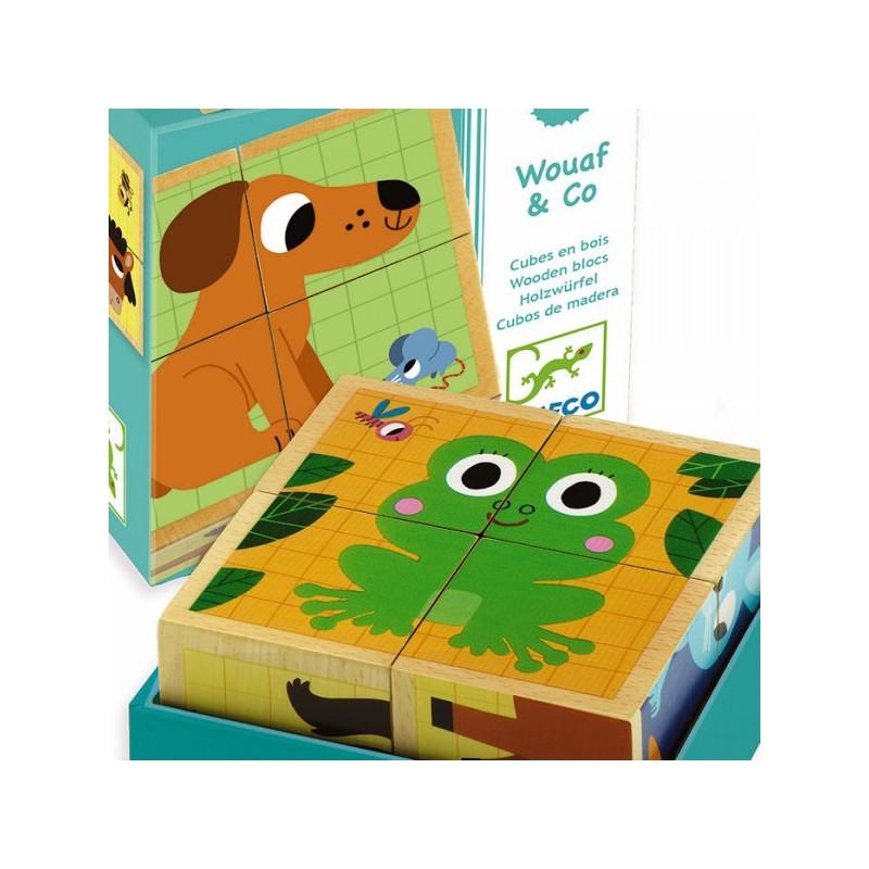 Cubes puzzle bois animaux djeco