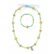 Set collier-bracelet Isla Beach vert-bleu