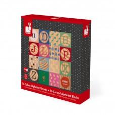 cubes alphabet gravés janod