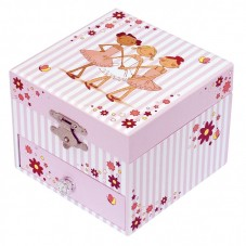 Cube musicale ballerine rayé rose