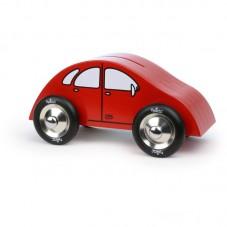 Tirelire voiture rouge en bois