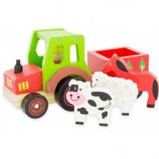 tracteur animaux bois