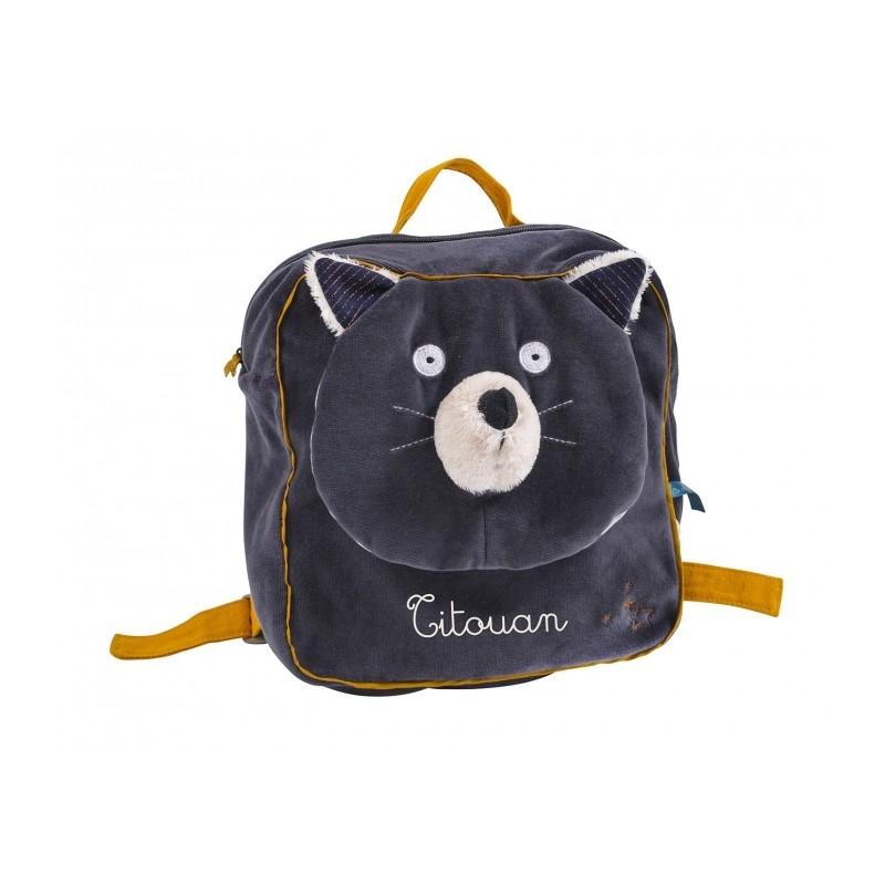 sac à dos chat brodé au prénom