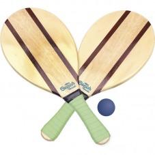 raquettes de plage en bois avec balle