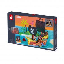 bateau de pirates en bois et figurines