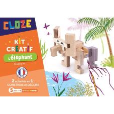 éléphant à construire en bois cloze