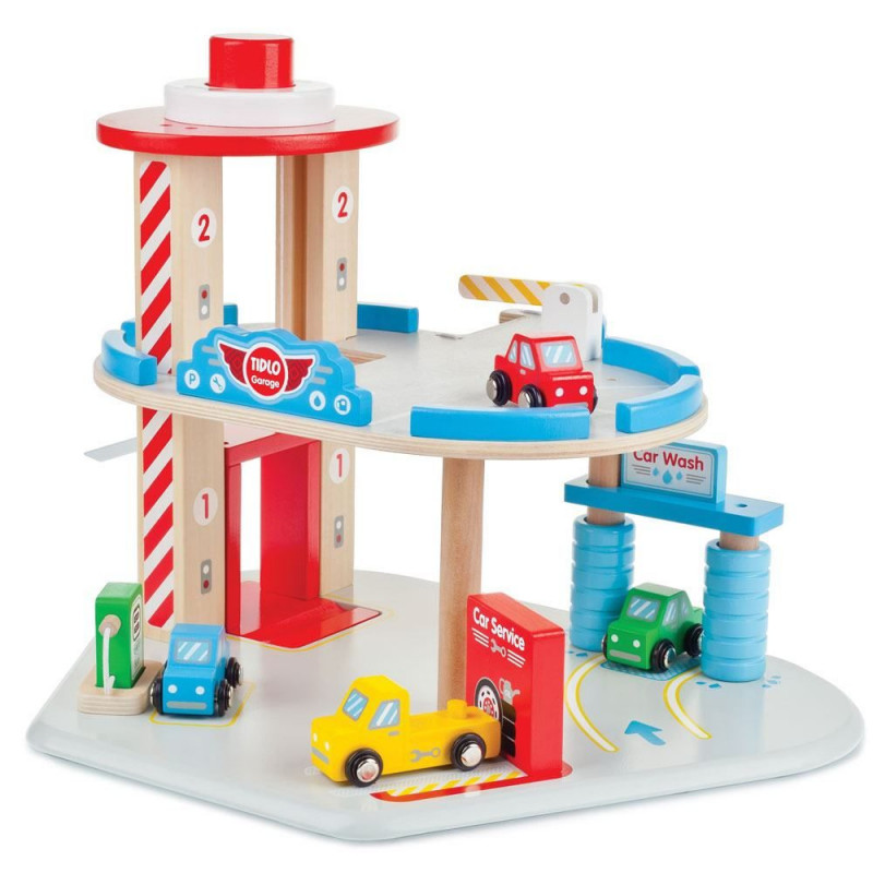 garage en bois et voitures en bois