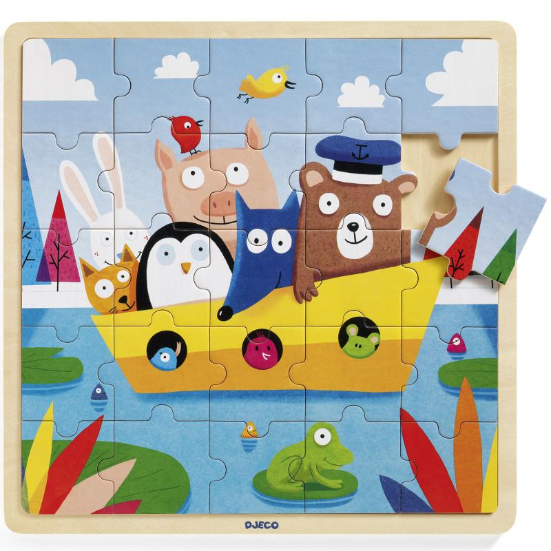 puzzle en bois bateau djeco