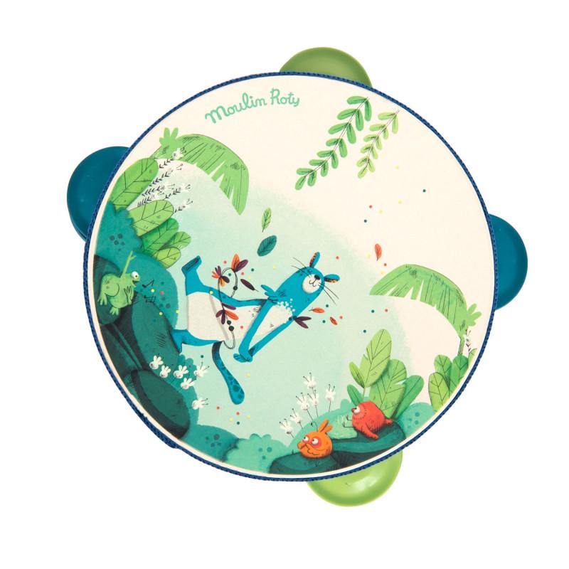 tambourin bleu dans la jungle moulin roty