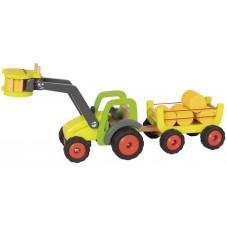 tracteur et remorque de foin goki