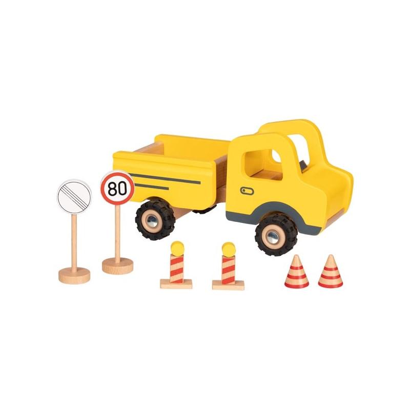 camion de chantier en bois et ses panneaux goki