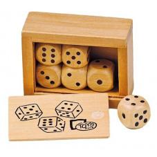 boîte de 6 dès en bois goki