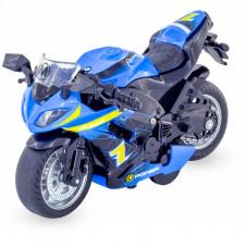 moto de sport bleue 3 ans