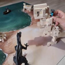 dinosaure en bois cloze