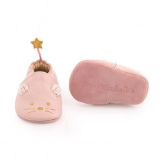 chaussons cuir souris rose