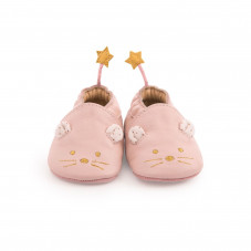 chaussons cuir rose