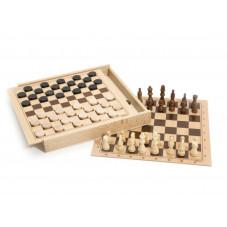 coffret dames et échecs bois
