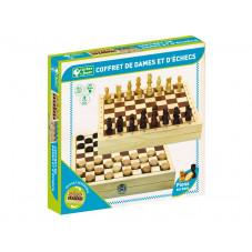 coffret échecs et dames bois
