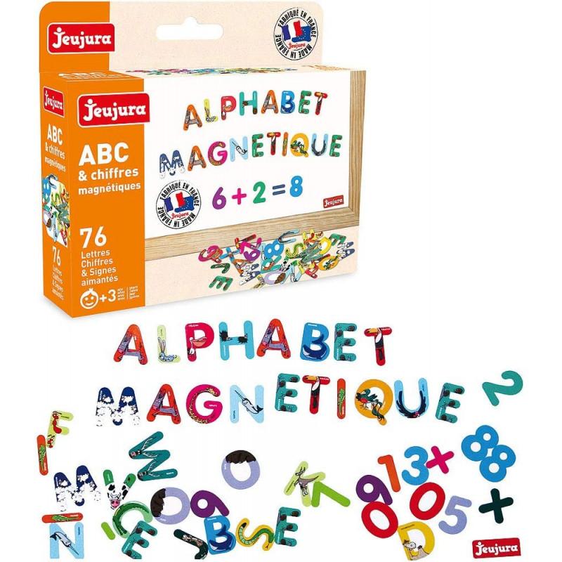 abc et chiffres magnétiques en bois jeujura