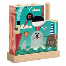 cubes en bois mer